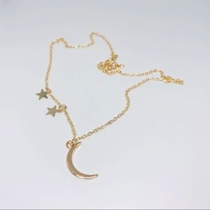 Jewelry - Crescent moon and star gold necklace